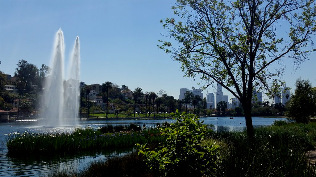 Echo Park Lake Westside view