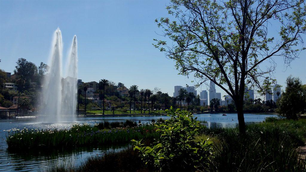 Echo Park Lake Westside view